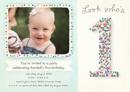 Birthday party invitation cards cvs photo colorful candy first birthday stopboris Choice Image