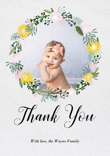 Thank you cards custom photo thank you cards snapfish floral wreath thank you thecheapjerseys Gallery