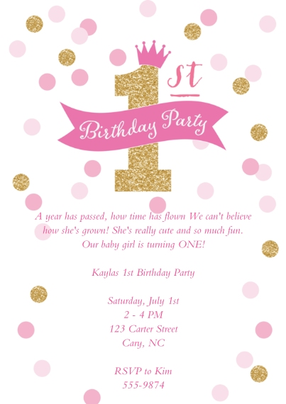 1st birthday party invitations birthday party invites snapfish birthday party crown glitter 1st birthday party crown glitter 1st filmwisefo