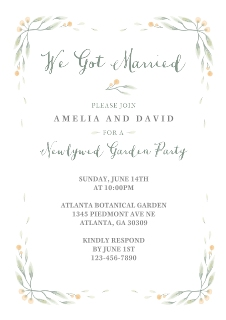Wedding invitations wedding photo invites snapfish green grows the valley post wedding garden party junglespirit Image collections