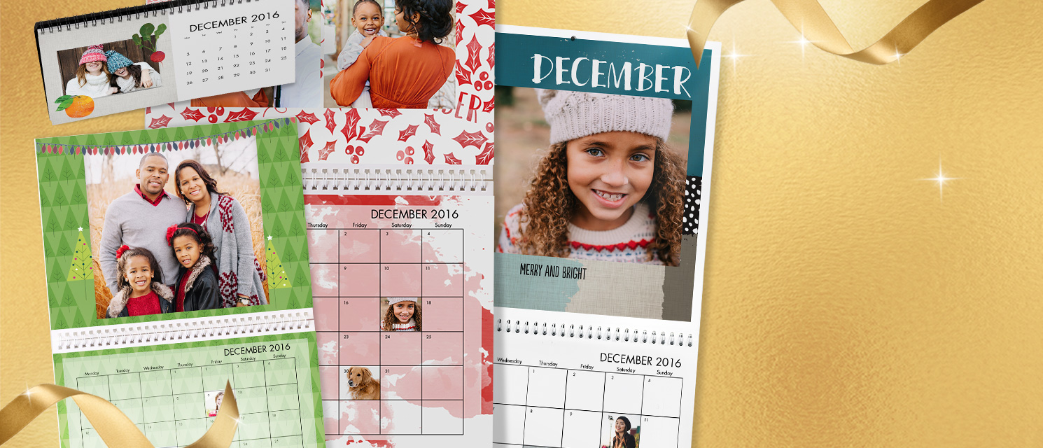 Personalised Calendars : Create desk and wall calendars for the year ahead! Start your calendar in any month and add in images on different months and special dates.