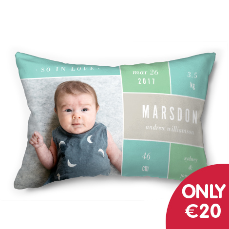 "Only €20 on 20x14"" photo cushion"