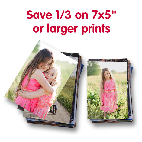 "Save 1/3 on 7x5"" or larger prints"