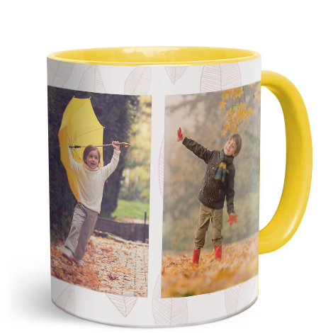 330ml (11oz) Yellow Personalised Photo Mug
