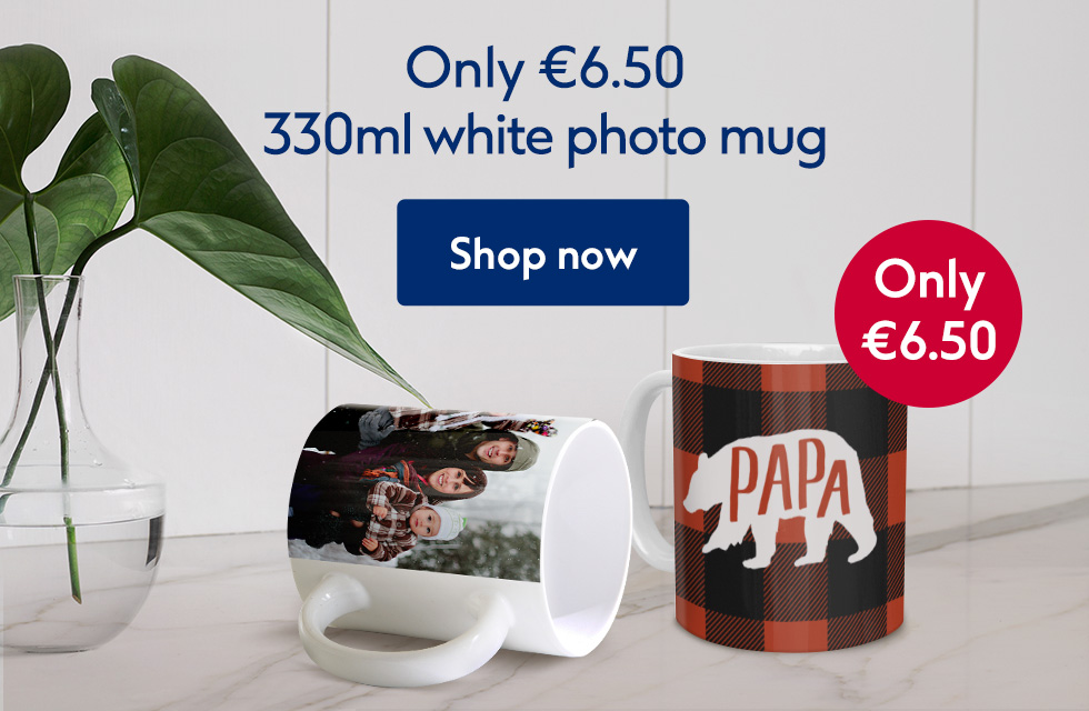 330ml white photo mug only €6.50!