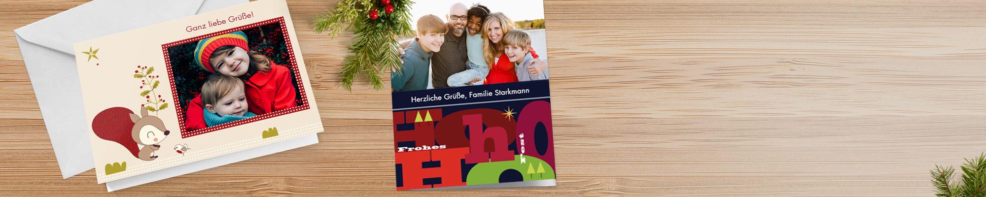 Grußkarten und Einladungen Versenden Sie Ihre festlichen Grüße in atemberaubenden Designs, geeignet zum Bewundern an jedem Kühlschrank und Kamin.