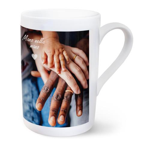 Tazza in porcellana personalizzata con foto di mani