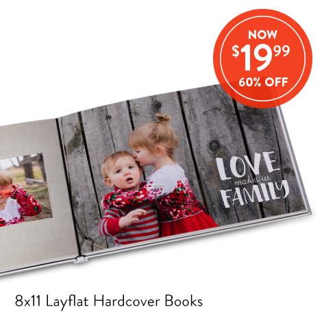8x11 Layflat Hardcover Photo Books for $19.99 EA., Reg. $49.99 EA.