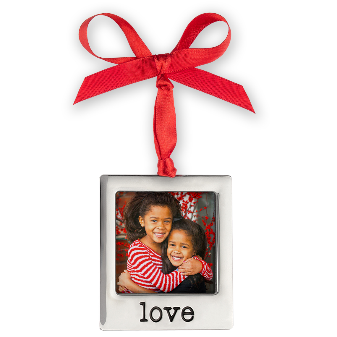 Silver Plate Love Photo Ornament  Christmas Ornaments and Decor