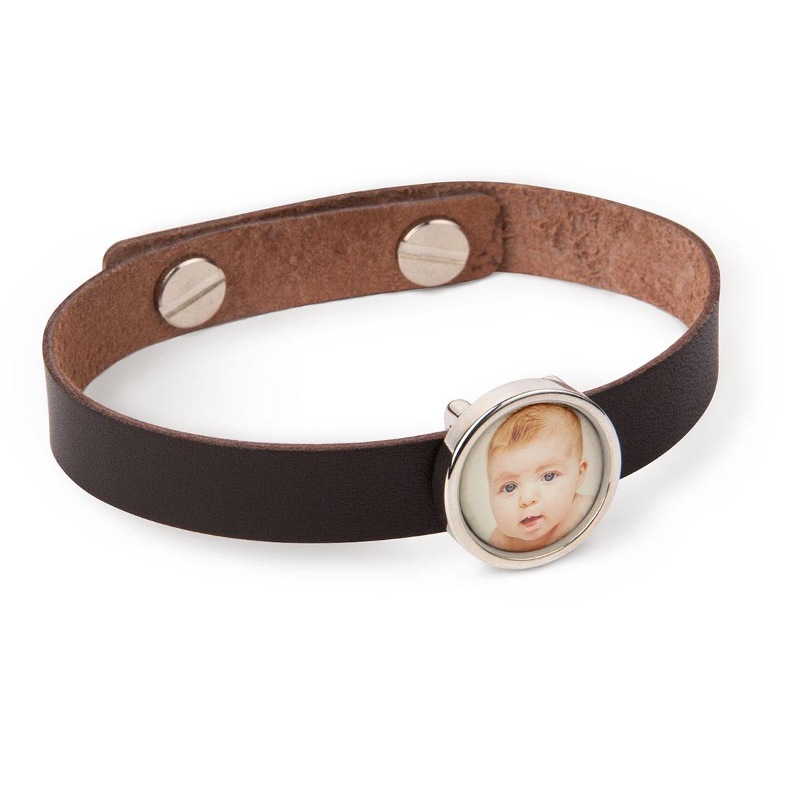 Leather Photo Charm Bracelet
