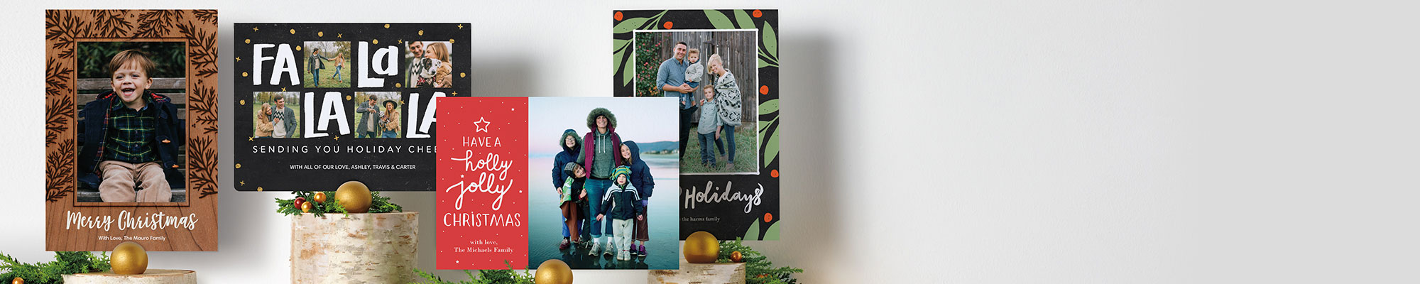 Photo Cards Send season's greetings with stunning designs fit for every fridge and mantle.