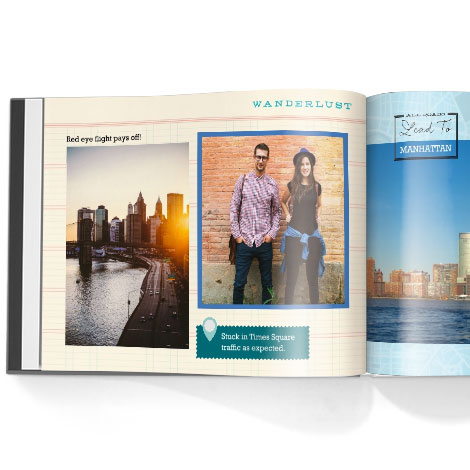 Photo book. Travel stamps theme
