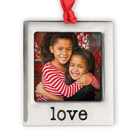 Silver Plate Love Photo Ornament