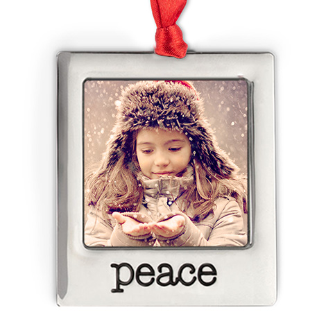 Silver Plate Peace Photo Ornament