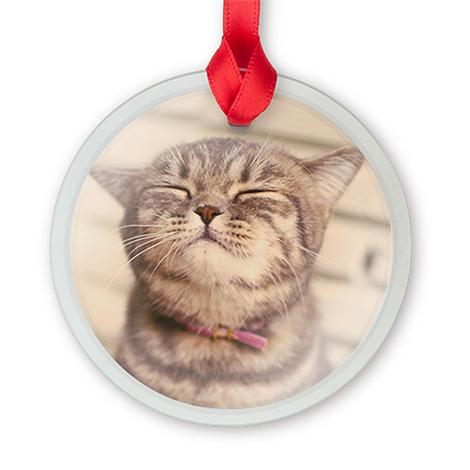 Glass Round Photo Ornament