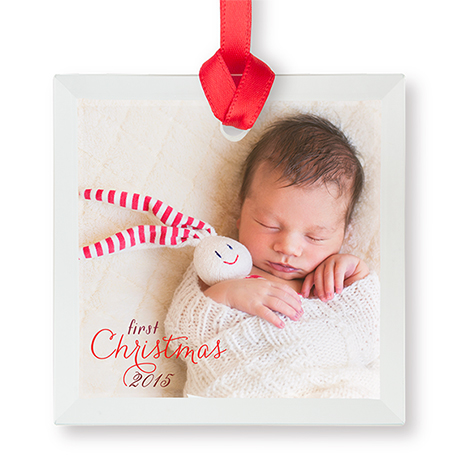 Glass Square Photo Ornament