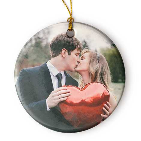 Porcelain Round Christmas Photo Ornament