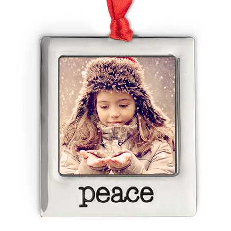 Silver Plate Peace Photo Ornament