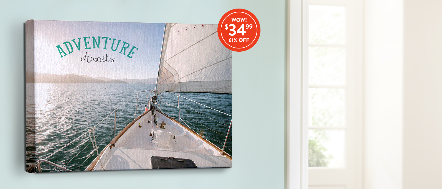 A summer sail like no other : Use CANV3499 to hop aboard 16x20 unframed canvas savings.