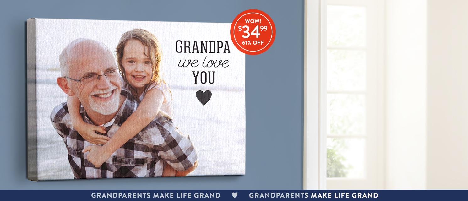 Heartwarming as a hug : Celebrate grandparents with a 16x20 canvas. Use CANV3499