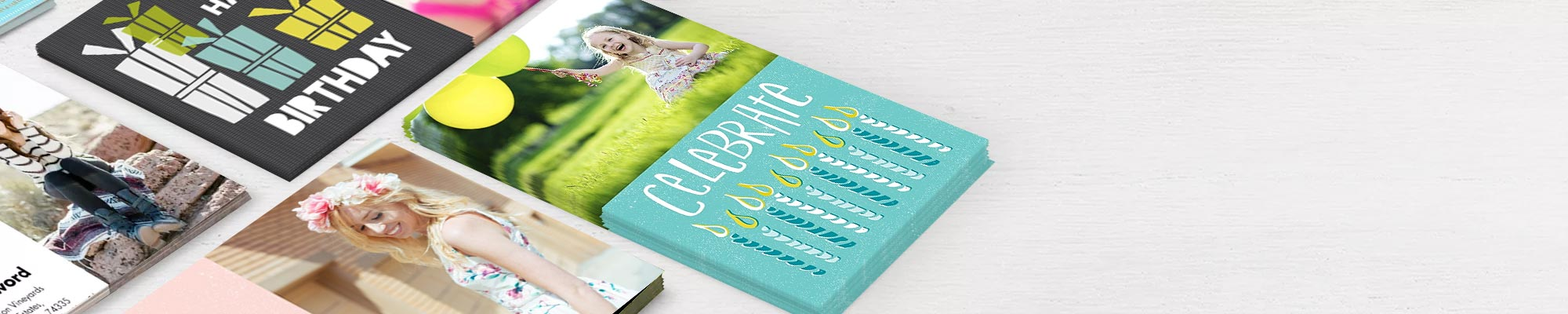 Photo cards : Birthday, greeting, invitation or thank you, give your cards the personal touch.