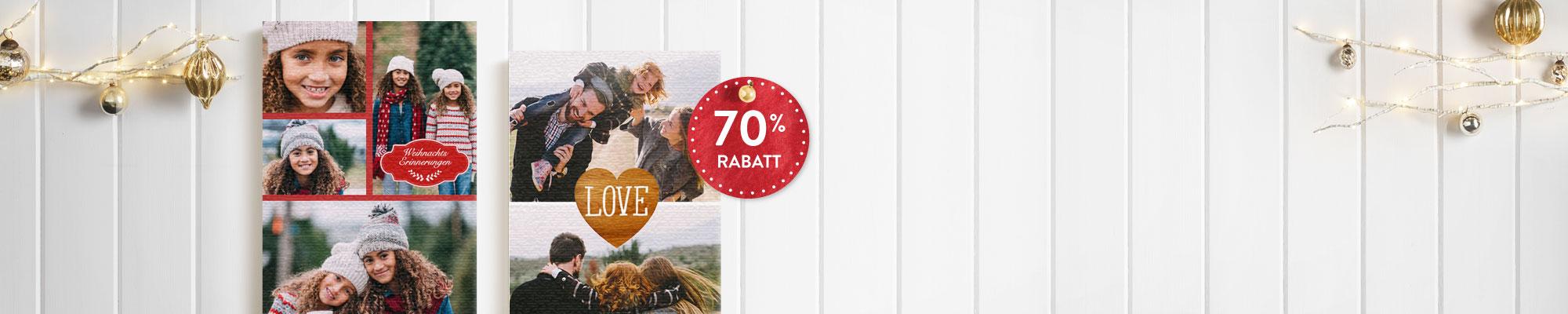 Leinwände und Wanddekoration : Unser besonderes Weihnachtsgeschenk - Fotoleinwand 40x50 cm mit 70% Rabatt! Gutscheincode: BEST516