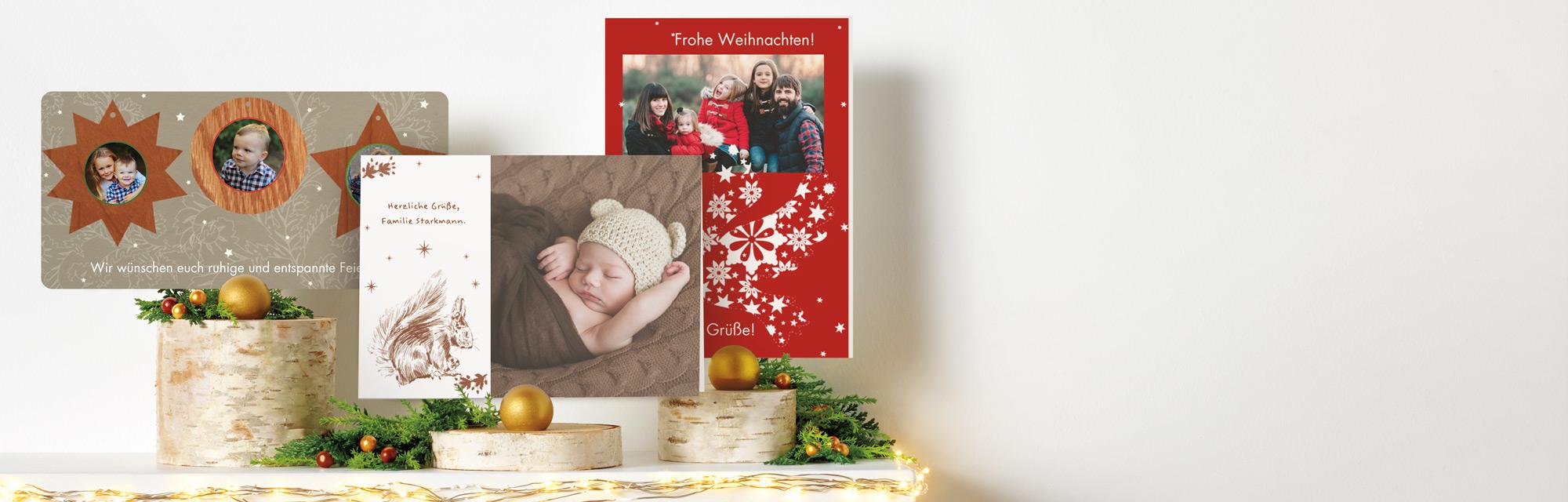Weihnachtskarten mit eigenem Foto Bewahren Sie die wundervolle Tradition der Weihnachtskarte und senden Sie dieses Jahr eine individuelle Karte.