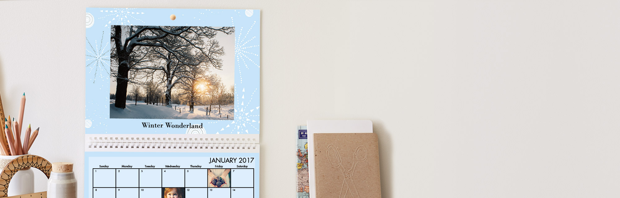 Feel the love all year long : Our popular 8.5x11 wall calendar can be personalized by month and date.