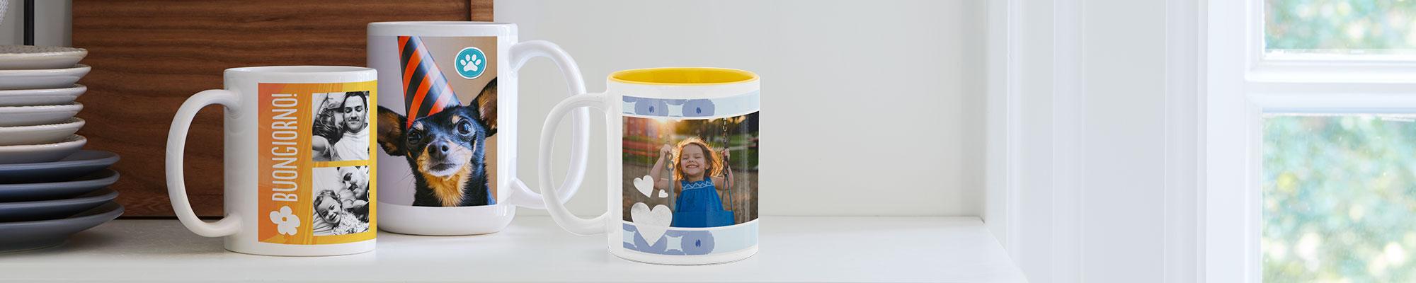 Tazze personalizzate Una tazza fotografica personalizzata rende speciale la tua colazione o la tua pausa. Crea un regalo unico e personale.