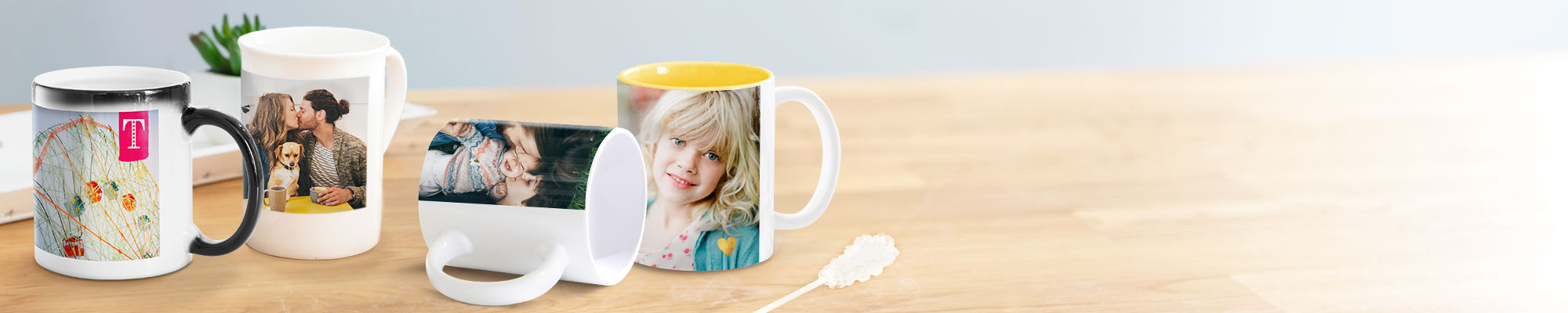 Photo Mugs : Perfect for a morning cuppa, our range of personalised mugs make a cute Mother's Day gift.