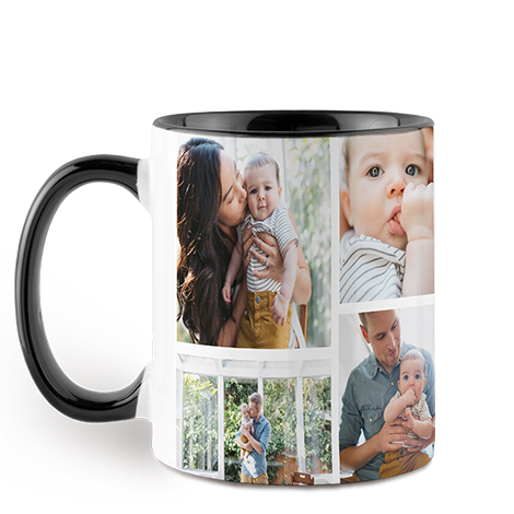 Collage Black Colorful Mug, 11 oz.