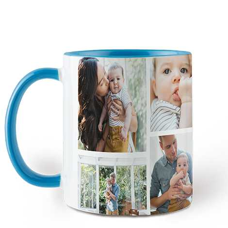 Collage Sky Blue Colorful Mugs, 11 oz