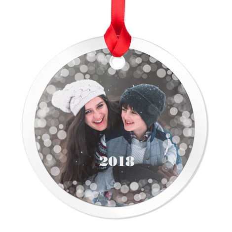 Glass Round Photo Ornament