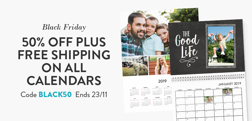 50% off + Free delivery on all Calendars