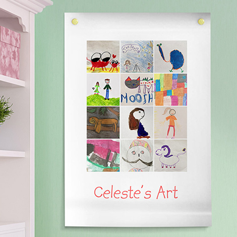 An image of wall art which is a collection of kids' art.
