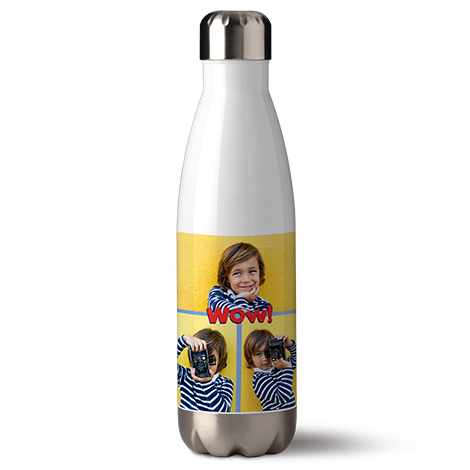 Bottle showing a picture of a kid with different poses.
