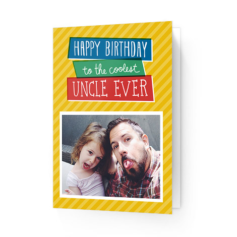 Girl with Uncle on happy birthday card