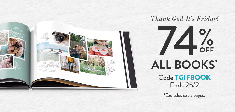 74% off all Photo Books*