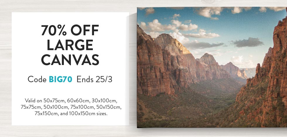 70% off Large Canvas Prints*