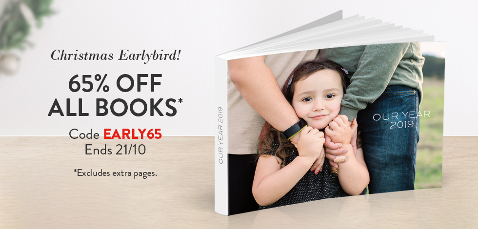 65% off all Books (*ex. extra pages)