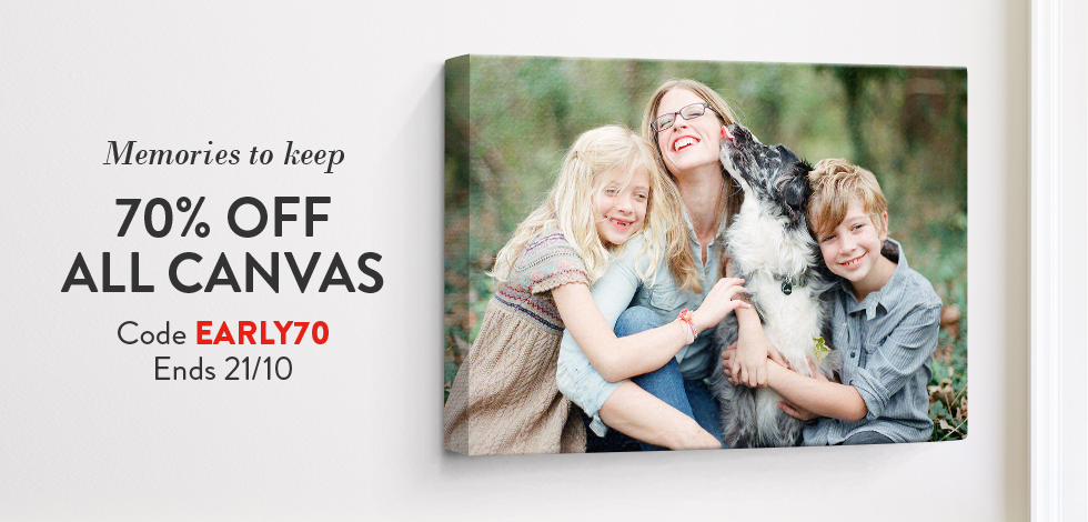 70% off all Canvas Prints