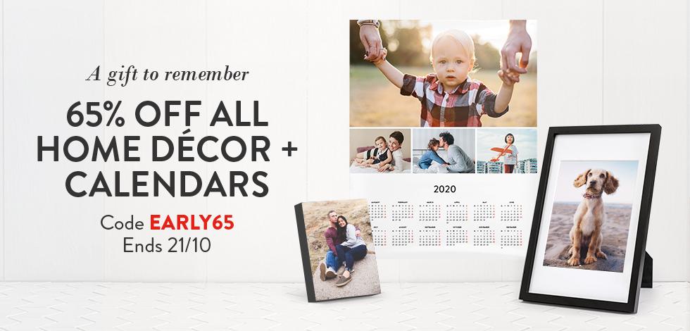 65% off all Home Decor & Calendars