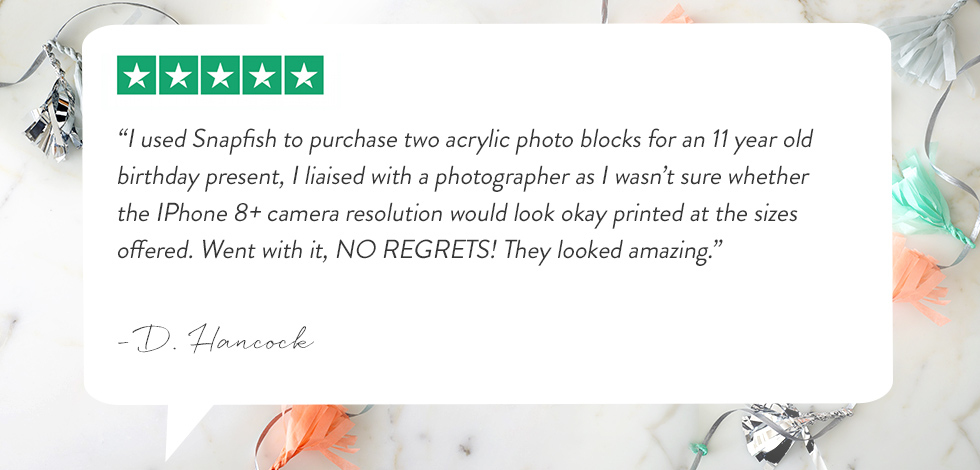 Customer review for purchase of acrylic photo block.