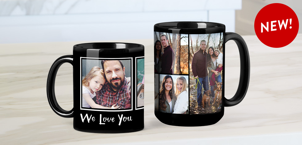 NEW! BLACK PHOTO COFFEE MUGS