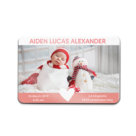 Christmas theme rectangle magnet with small child