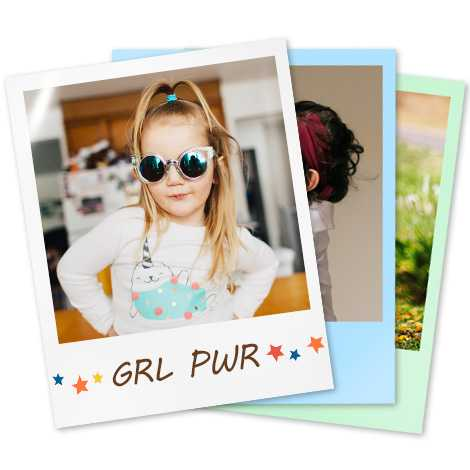 image of girl wearing sunglasses text in photo border GRL PWR