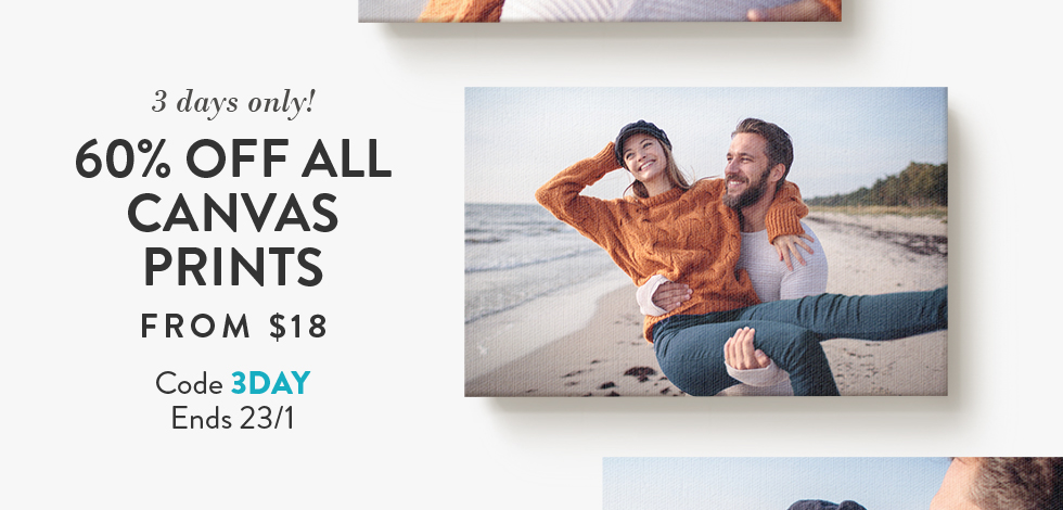 60% off all Canvas Prints