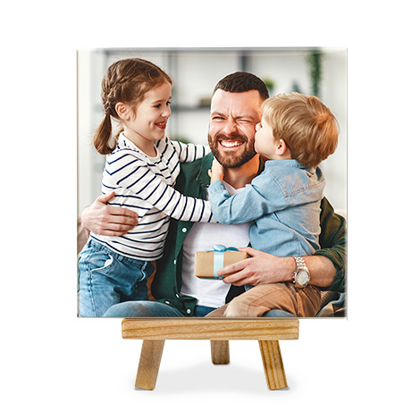 Photo tile with father and two children