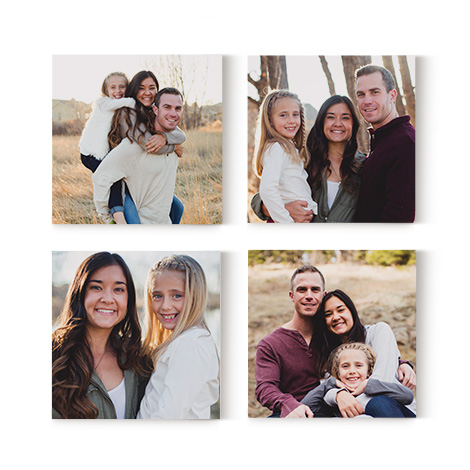 set of 4 photo tile images with family