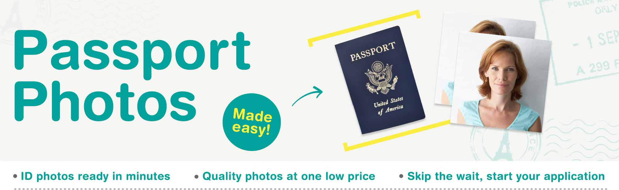 Passport Photos Made Easy. ID Photos ready in minutes. Quality photos at one low price. Skip the wait, start your application